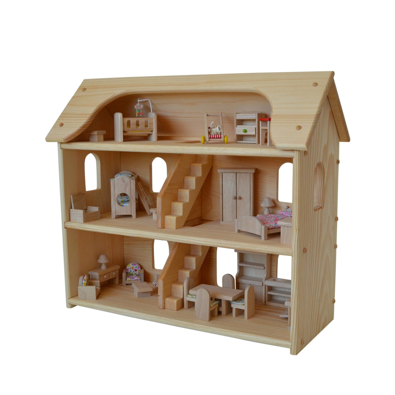 Handcrafted Natural Wooden Toy Dollhouse Set-Waldorf