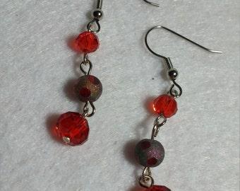 Red Czech Crystal Earrings
