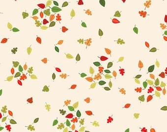 1/2 yard FOREST FRIENDS by Makower U.K. for Andover Fabrics Leaves Cream