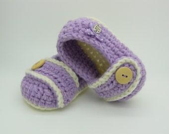 Lilac crochet baby ballerine slippers