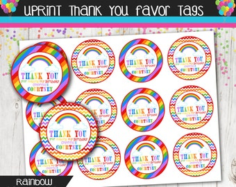 Rainbow Party Thank You Favor Tags Personalized - Chevron