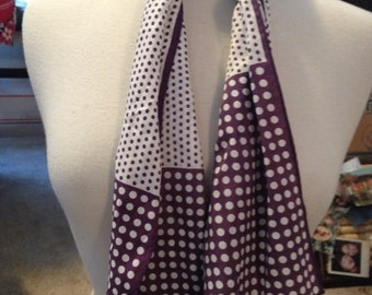 Putple and white polka dot scarf