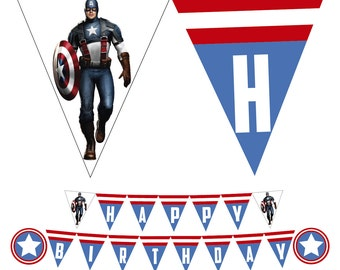 Captain America Printable Happy Birthday Banner