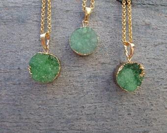 Mint Green Necklace - Mint Druzy Necklace - Gold Druzy Jewelry-Bridesmaids necklace- Pastel Necklace