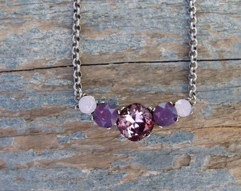 Swarovski crystal Necklace/Ombre Pink Necklace/Rhinestone Bar Necklace/Vintage inspired necklace