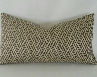"""10.5"""" x 20"""" Gray/Taupe Textured Diagonal Pattern Lumbar Pillow Cover"""
