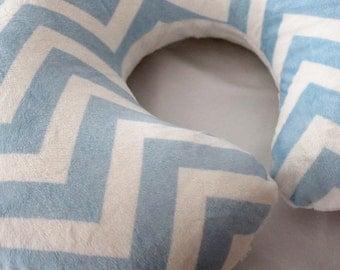 Baby Blue and White Chevron Minky Dot Boppy Pillow Cover, Zipper Closure, Baby Boy or Girl, Baby Shower, Feeding, Nursing
