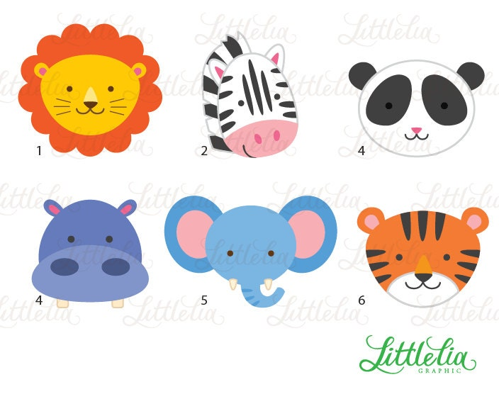 Jungle Animal Head Clipart Jungle Animal By Littleliagraphic