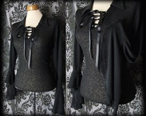 Gothic Black Fitted Lace Up MACABRE Wide Sleeve Blouse 12 14 Victorian Vintage