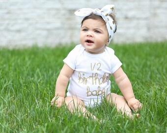 1/2 Birthday Outfit/Pink and Gold half birthday/Half Birthday Babe shirt