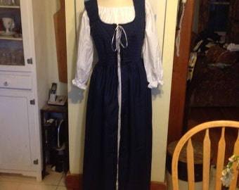 handmade renaissance fair wench maiden medieval costume blue over dress and chemise