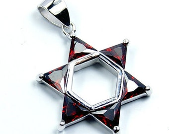 Jewish Star of David Red CZ & .925 Sterling Silver Pendant, T71