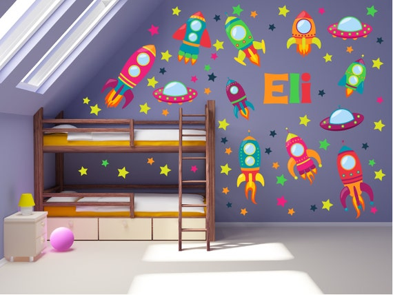 Outer space wall decals space wall art space theme kids for Outer space decor