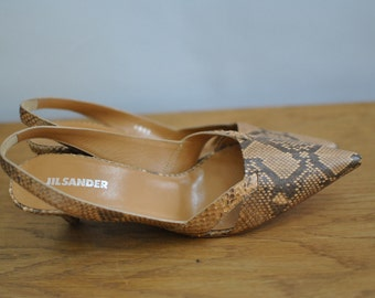Vintage JIL SANDER leather stiletto shoes , deisgner shoes...(032)