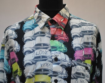 Vintage LAMBERTINO printed mens shirt ....