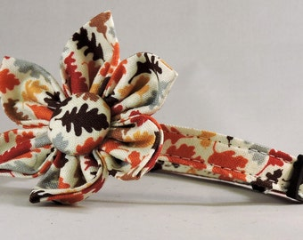 Cat Collar and Flower or Bow Tie - Nutmeg Leaves