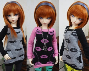 Kawkana - Modern Hoodie, Mustache, Pink Lips Hoodie, with pockets for MSD, MNF, JID, other 1/4 bjd