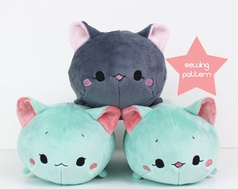 PDF sewing pattern - Cat Roll plush - stacking loaf plushie - easy cute anime kawaii stuffed animal DIY softie plush toy 12""