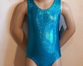Sparkle Leotard, Girls Size 5 -  Turquoise Sparkle Leotard - Gymnastics and Dance Leotard