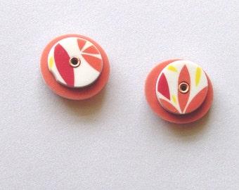 Tangerine Leaf Riveted Stud Earrings 004
