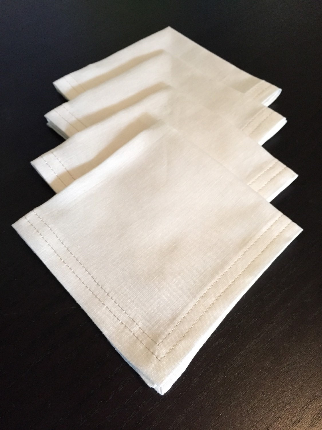 Set of 4 white linen cocktail napkins with silver by for White linen cocktail recipe