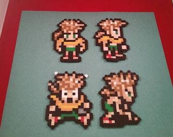 Final Fantasy VI/Final Fantasy III (US) perler bead sprite Gau choose from 1 of 4 stances or get all 4, plain or magnet