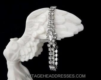Vintage Bracelet - Vintage 1940's Diamante Bracelet - Vintage Rhinestone Bracelet - Wedding Bracelet - Bridal Bracelet - Art Deco Bracelet