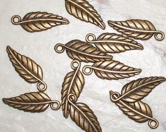 Antiqued Bronze Leaf Charms