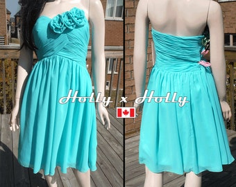 Turquoise bridesmaid dress, Aqua bridesmaid dress - Chiffon short dress