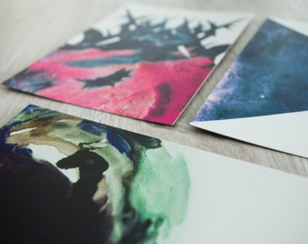 Set of 5 Postcards - Watercolour Geometric expressive painterly prints in jewel tones - blues, pinks, purples and greens.