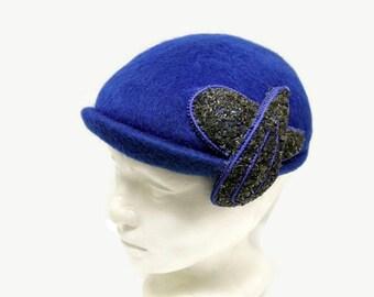 40s Beret Hat 1940s Blue Wool Felt Hat Beaded