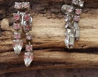 clear teardrop rhinestone chandelier screw back earrings vintage