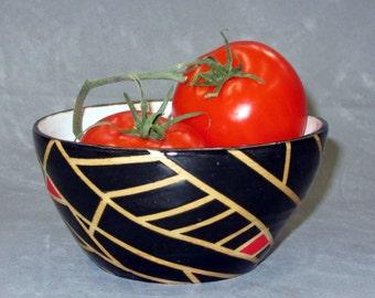 Geometric Black and White Ceramic Stoneware Bowl
