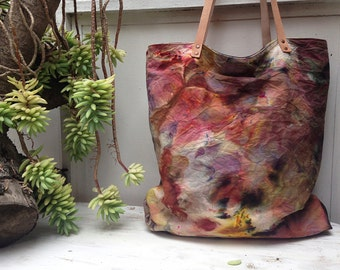 Dyed canvas tote bag, Market bag, Large canvas tote bag, Tie dye tote, Painted bag, Handmade tote bag,