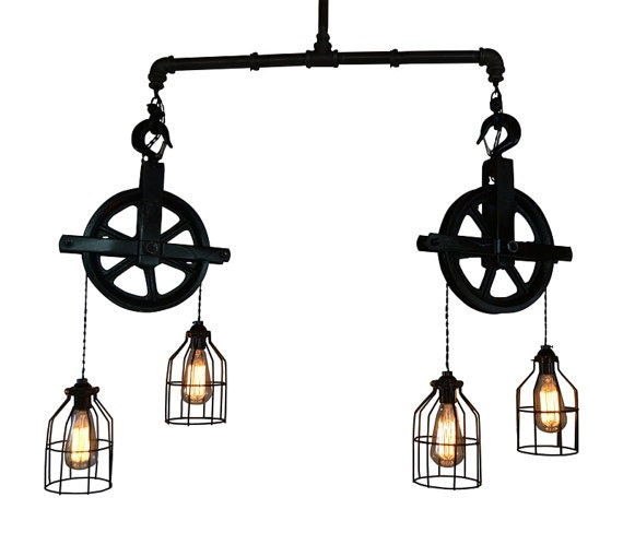 Ceiling Lighting Industrial Pulley Light Bar By WestNinthVintage