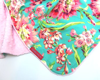 Baby Blanket in Amy Butler Love Bliss Bouquet in Aqua and Coral- Designer Minky Baby Blanket - toddler, baby, add embroidery