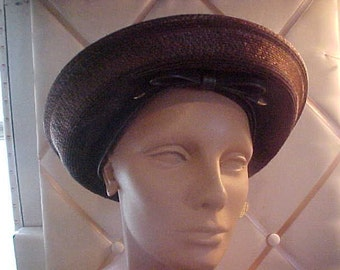 1950s Brown Straw Hat, Inner  band with Bow, Label Don Anderson