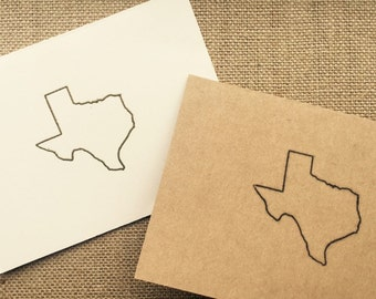 Set of 5 Hand stamped Texas greeting cards