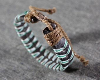 Men's Leather Wrapped Bracelet