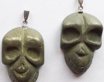 Pyrite Skulls, Hand Carved, Natural, Pyrite Gemstone, 36x21x7mm Skull Pendant