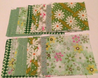 50 Fabric Squares, Vintage Fabric, New Fabric, Material, Die Cuts, Green Mix,  Assorted Colours, 2.5 inches, Vintage Haberdashery