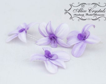 Hairpins flower hairpins orchid. violet Hair flower. orchid flower haipin.