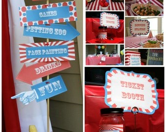 Carnival Party Signs w/ Editable Text, DIY Printable Carnival Party Signs, Instant Download, Print at Home