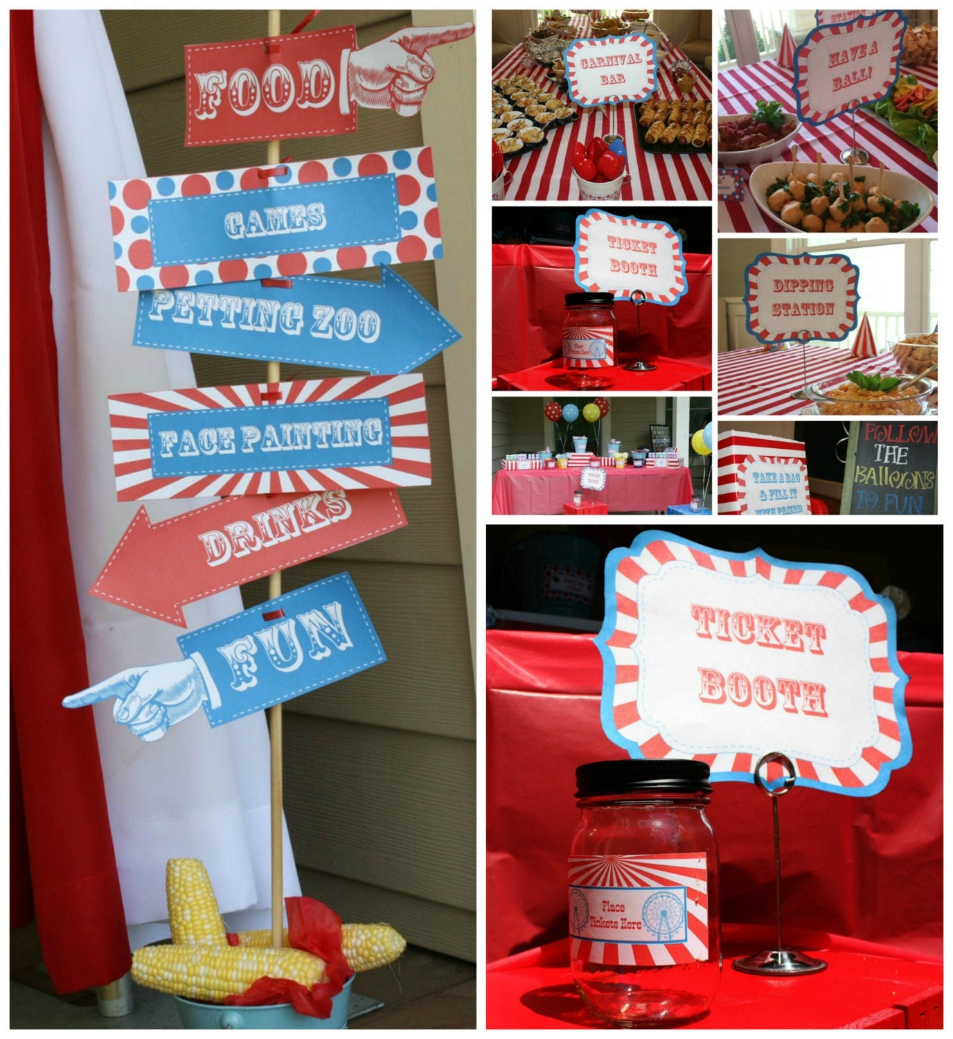 Carnival Party Signs W/ Editable Text DIY Printable Carnival