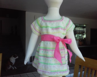 Hand Knit Baby Girl's  Sweater  Dress / Clothing  9 to 18 Months