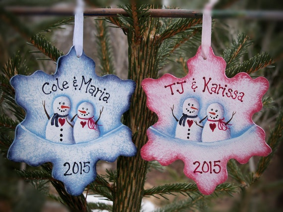 Couple's 1st Christmas - Couple's Keepsake Ornament - Snowflake w/ Snowman Hand Painted Christmas Ornament