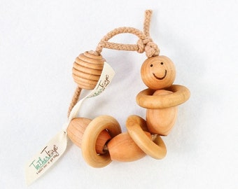 Bugsly- Organic Teething Toy, Baby Rattle, Wooden Toy, TeetherToy