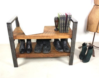 Industrial Entryway Bench Made From Reclaimed Wood, Small Shelving Unit