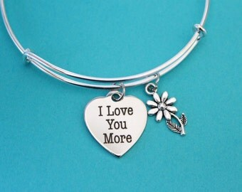 Valentines day gift - I love you more  bangle  on a Silver Plated adjustable Bangle /  Collectable Sturdy / great gift