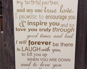 Third Anniversary Gift 3rd Anniversary Gift Wedding Vows Wood Sign Personalized Wedding Anniversary Gift I Take You To Be My Best Friend